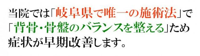 当院では「岐阜県で唯一の施術法」で「背骨・骨盤のバランスを整える」ため症状が早期に改善します。